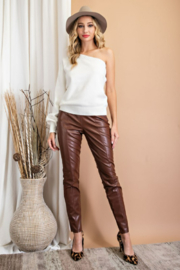 eesome Faux Leather Skinny Pants - Front full body