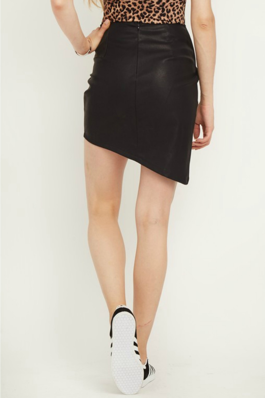 Olivaceous Faux Leather Skirt - Side Cropped Image