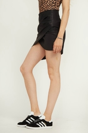 Olivaceous Faux Leather Skirt - Front full body