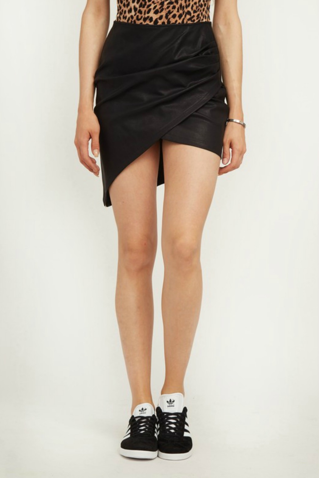 Olivaceous Faux Leather Skirt - Main Image