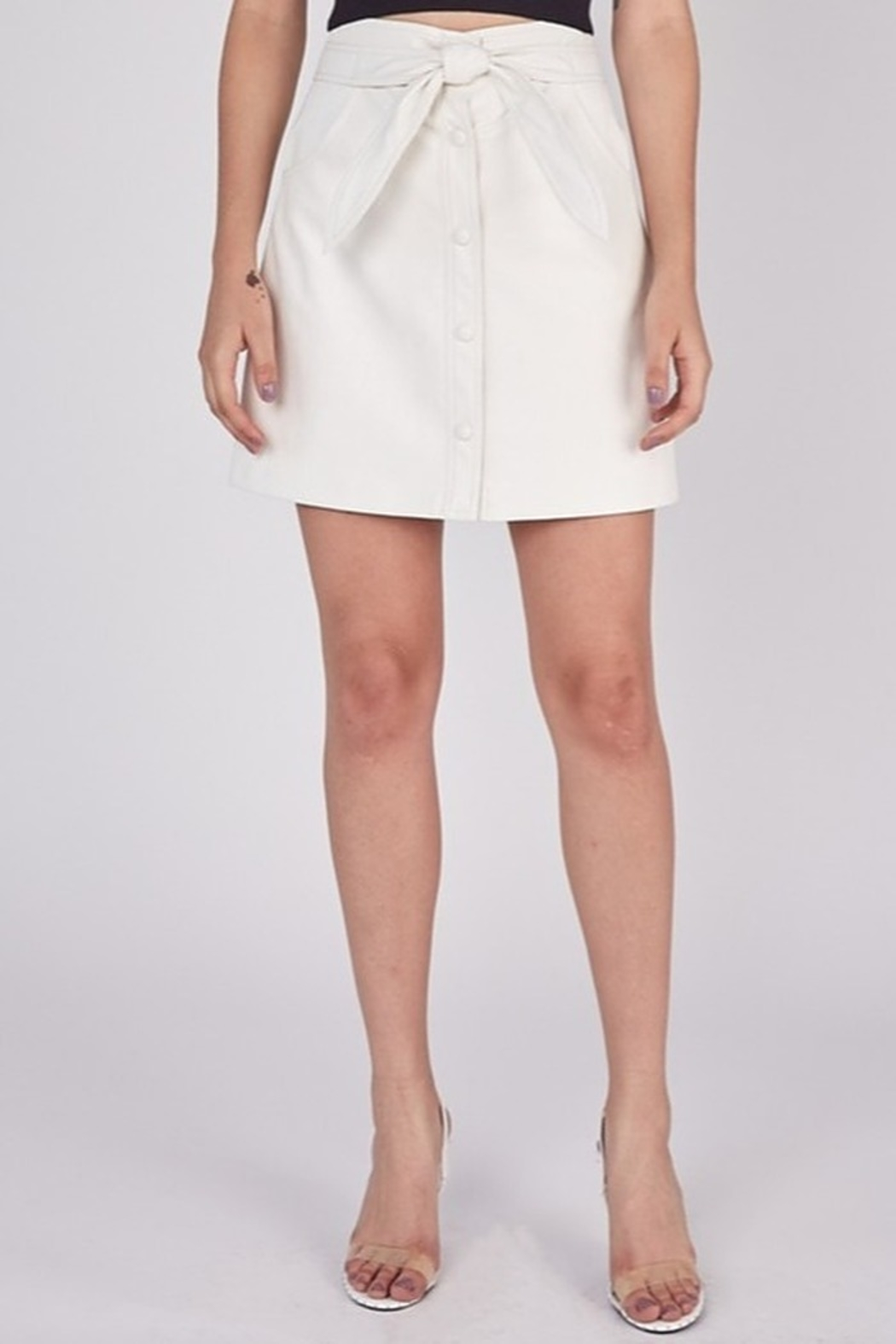 Idem Ditto  Faux Leather Skirt - Front Full Image