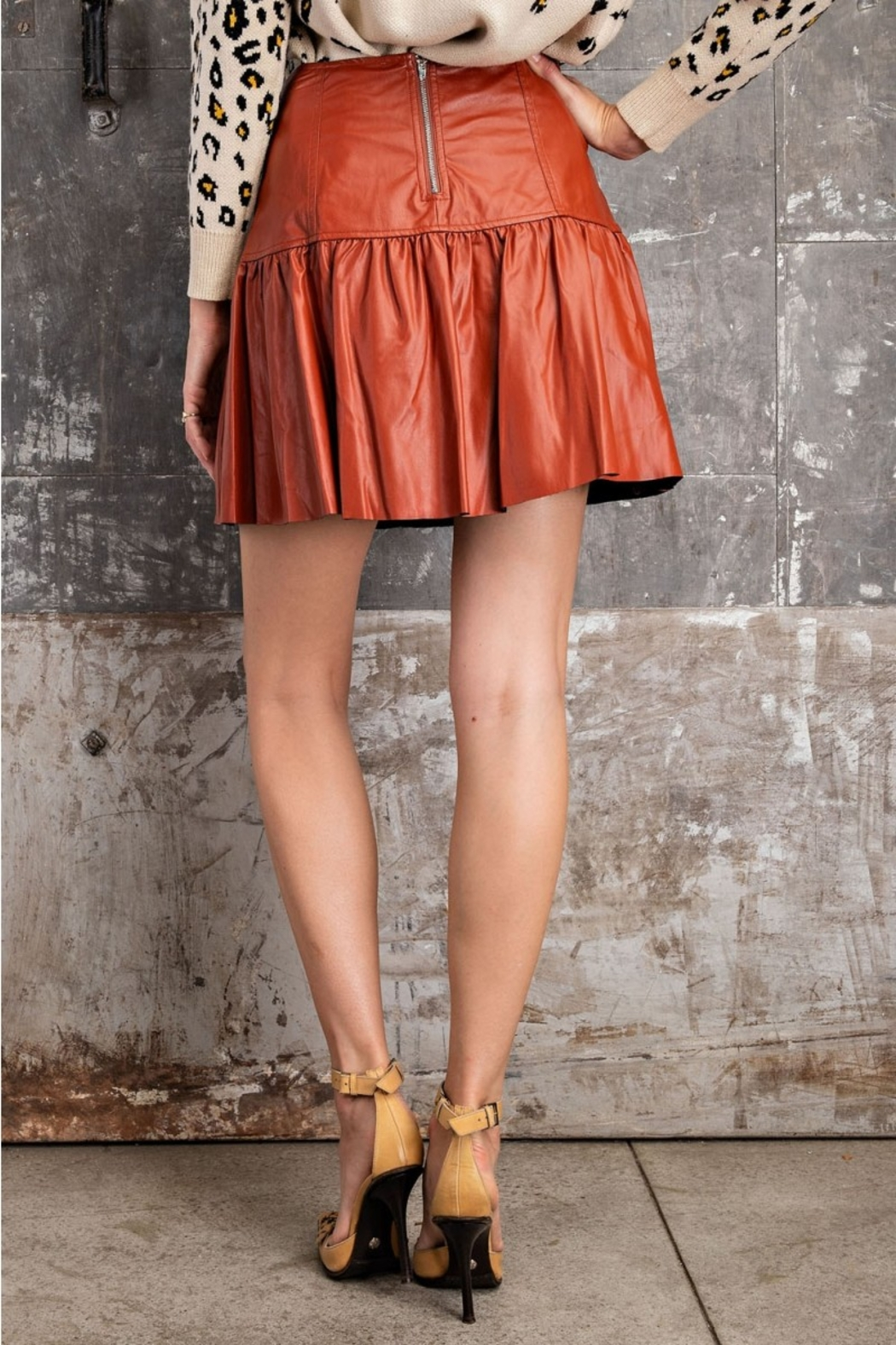 Easel  Faux Leather Skirt - Back Cropped Image