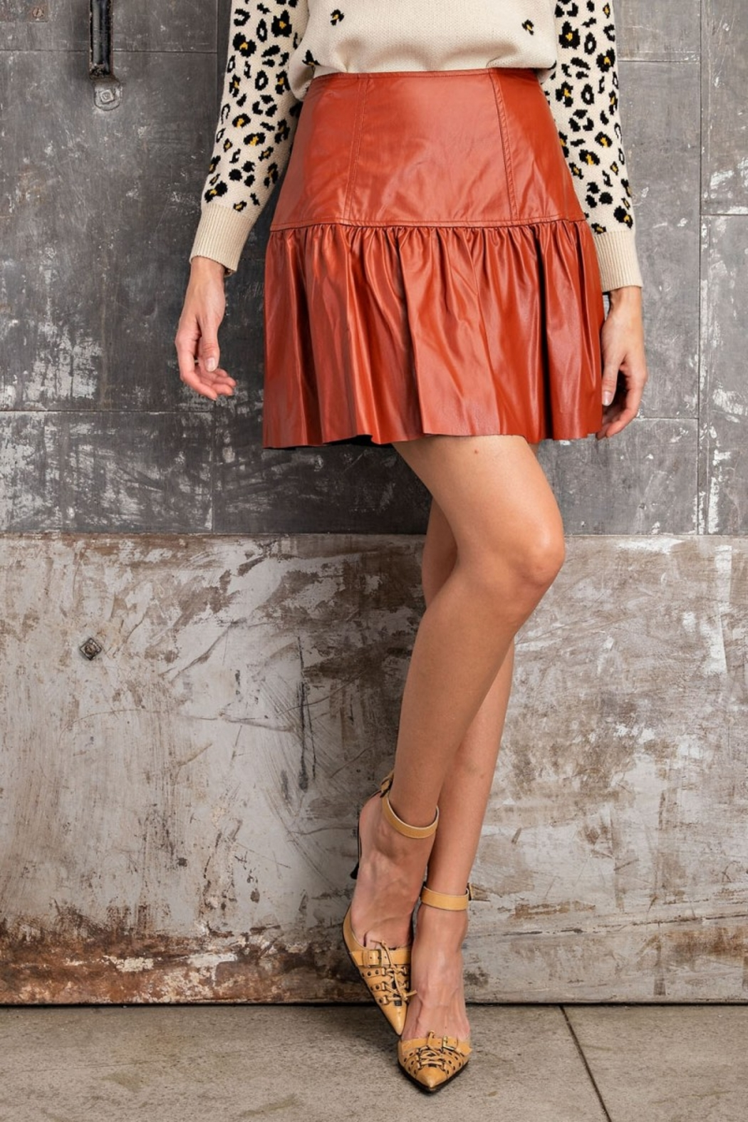 Easel  Faux Leather Skirt - Front Full Image