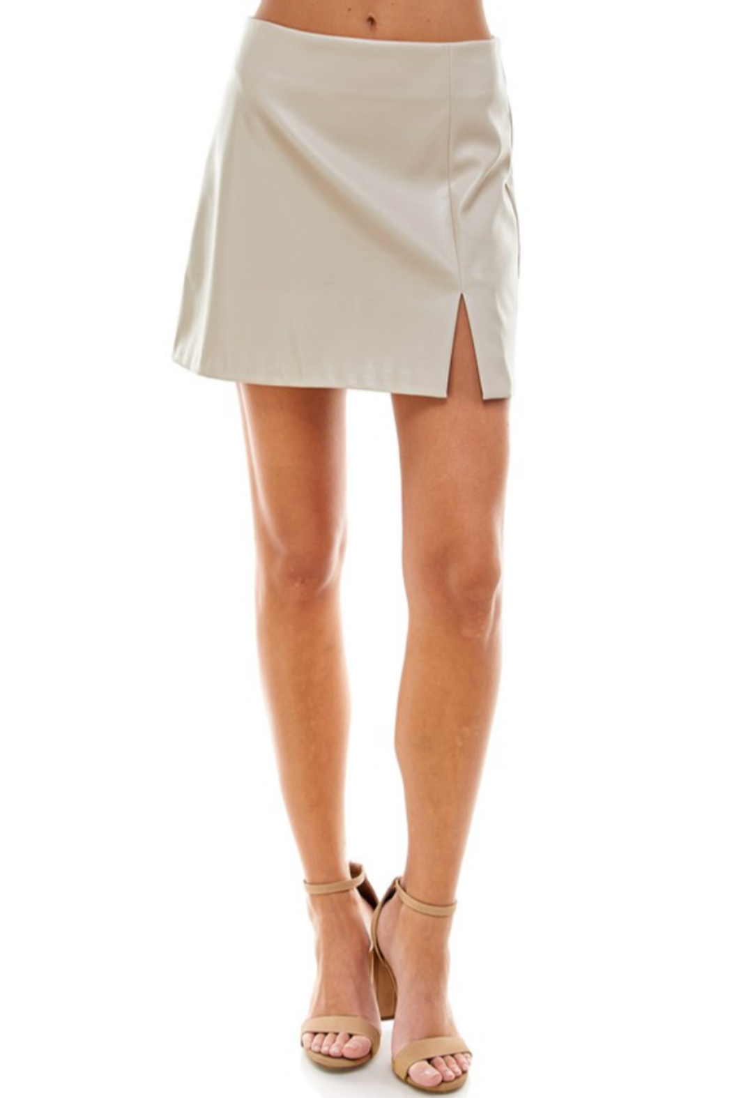 TCEC Faux Leather Skirt - Back Cropped Image