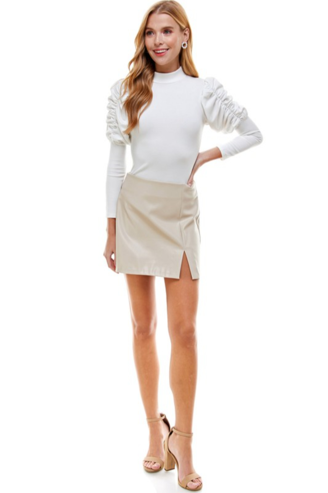 TCEC Faux Leather Skirt - Main Image