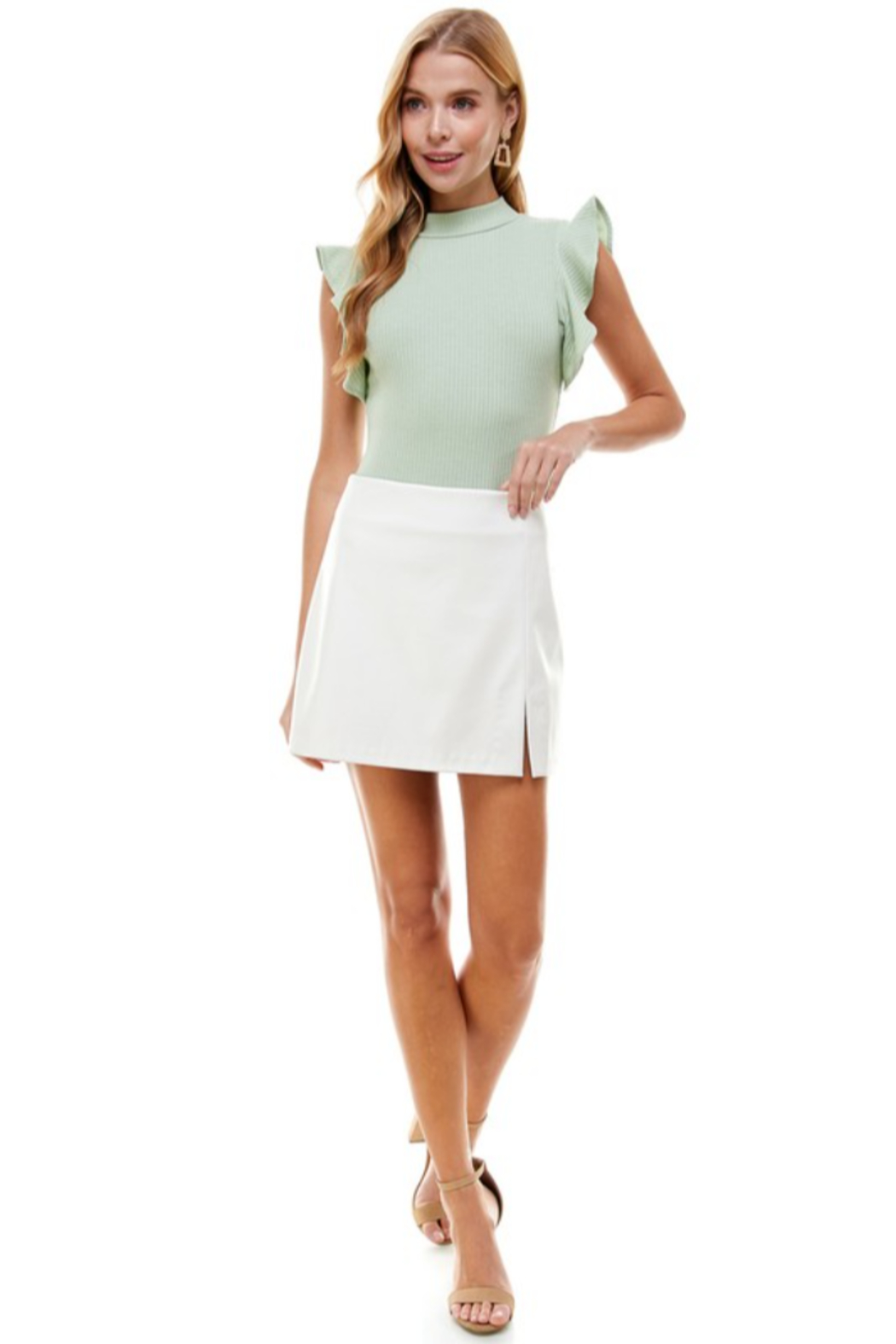 TCEC Faux Leather Skirt - Front Full Image