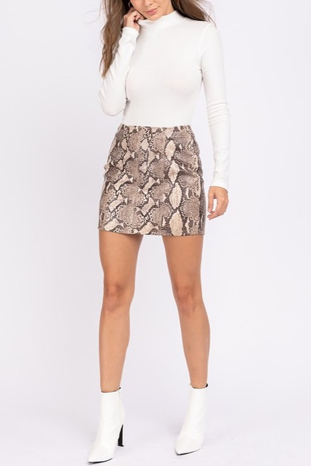 Le Lis Faux Leather Snake Print Skirt - Main Image