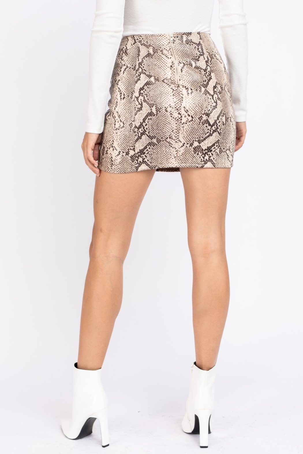 Le Lis Faux Leather Snake Print Skirt - Front Full Image