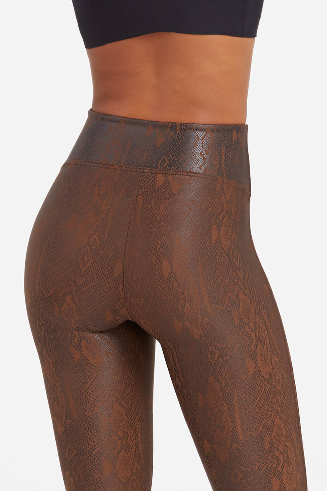 Spanx Faux Leather Snakeskin Leggings - Side Cropped Image