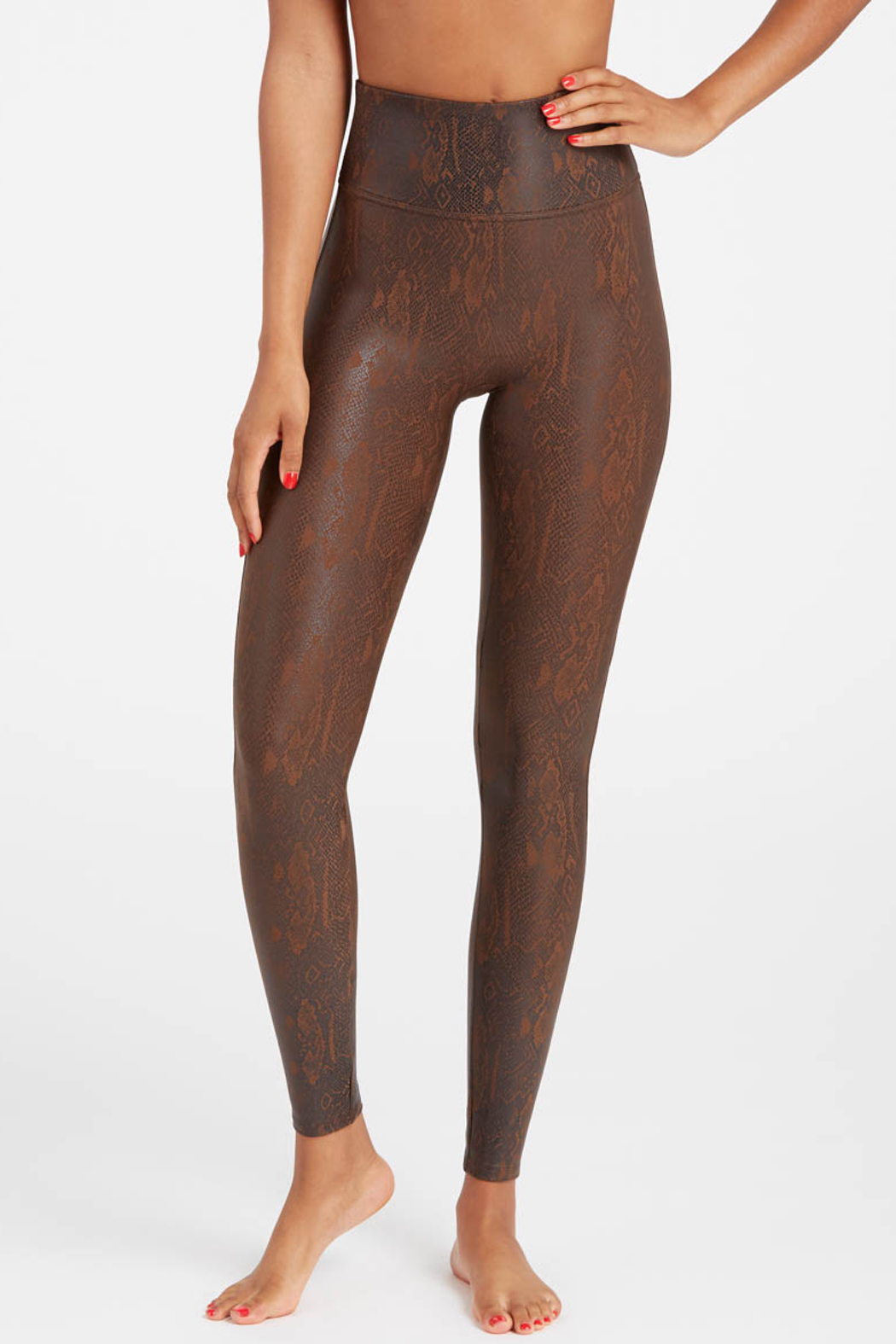 Spanx Faux Leather Snakeskin Legging - Side Cropped Image