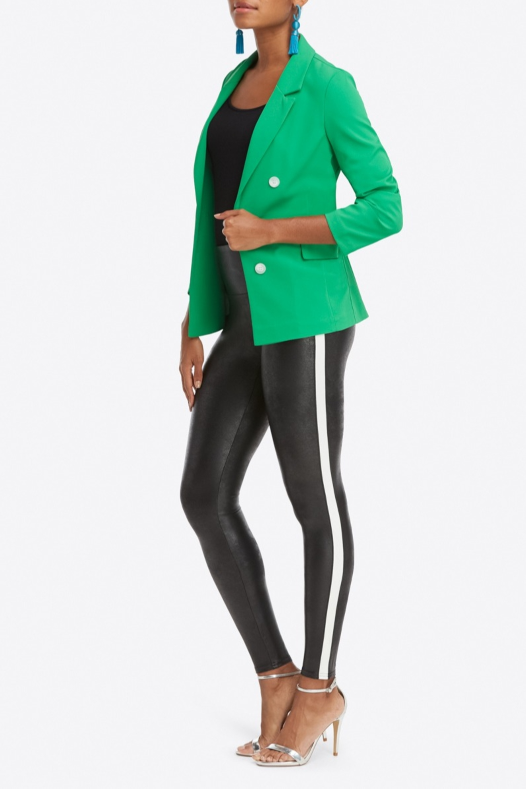 Spanx Faux Leather Stripe Legging - Side Cropped Image