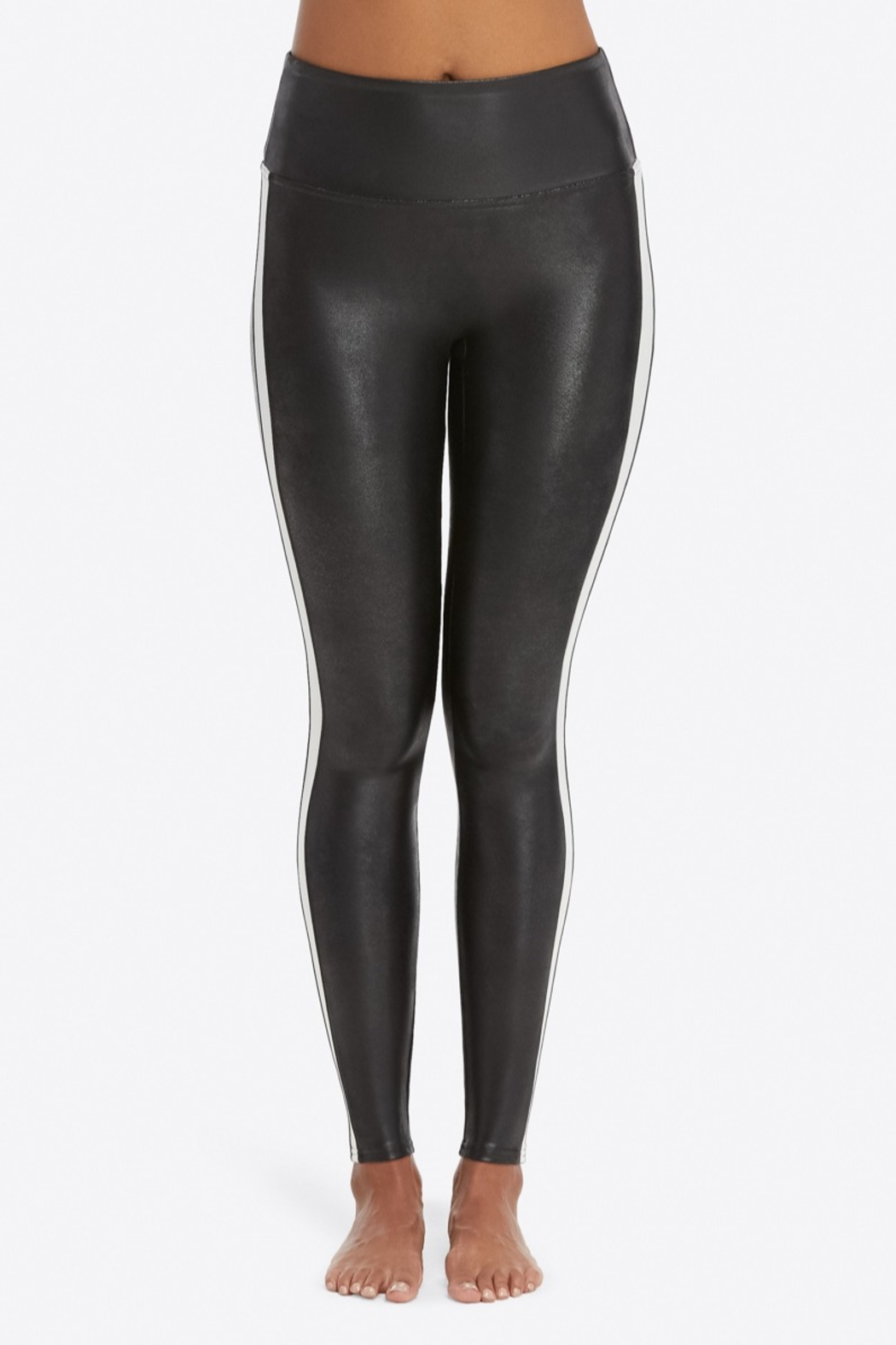 Spanx Faux Leather Stripe Legging - Back Cropped Image