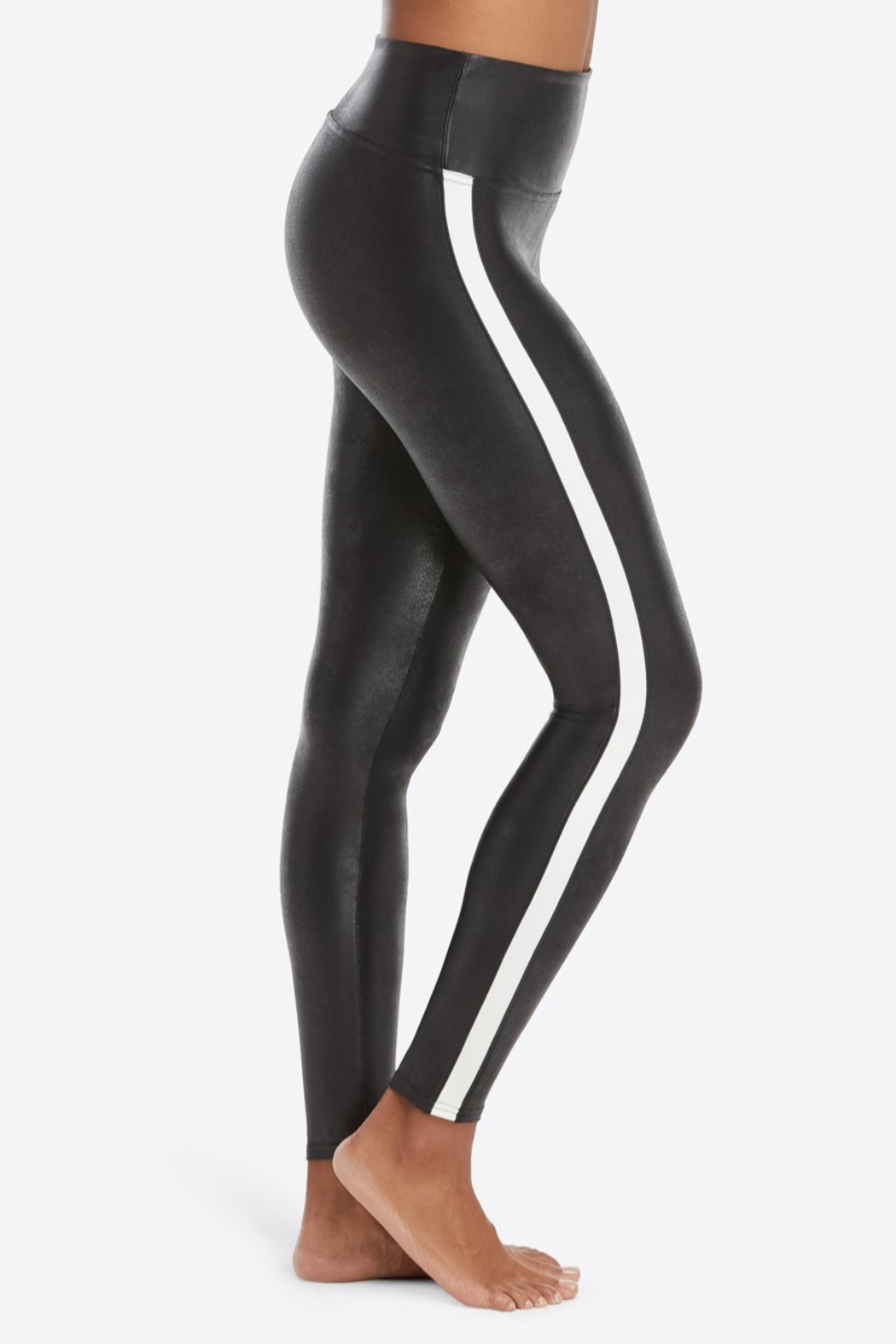 Spanx Faux Leather Stripe Legging - Front Cropped Image