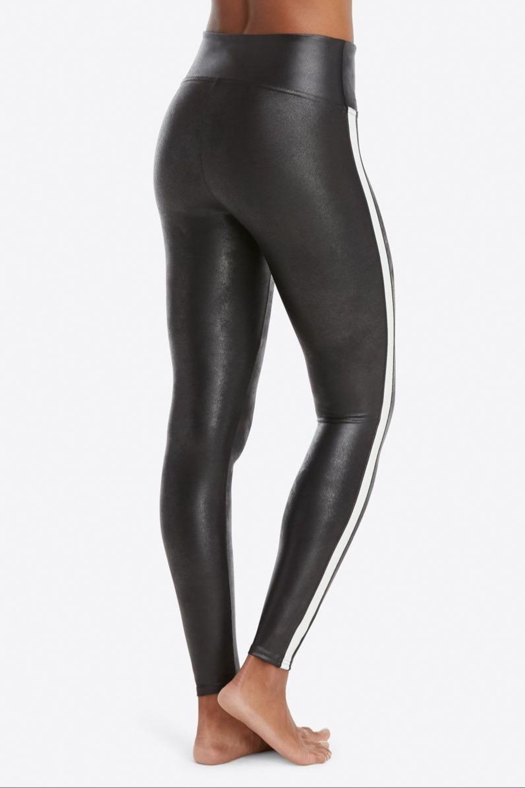 Spanx Faux-Leather Stripe Leggings - Side Cropped Image