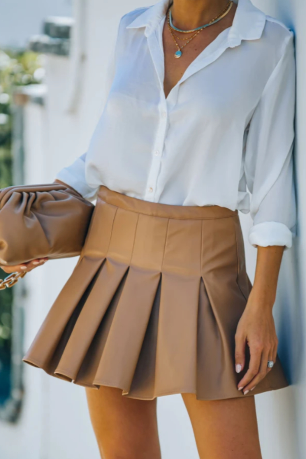 TCEC Faux Leather Tennis Skirt - Main Image