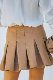 TCEC Faux Leather Tennis Skirt - Front full body