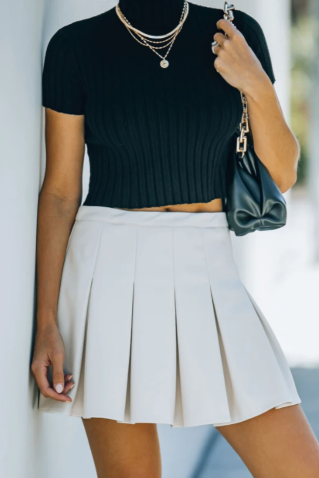 TCEC Faux Leather Tennis Skirt - Front Full Image