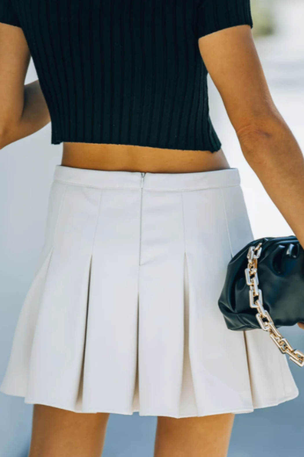 TCEC Faux Leather Tennis Skirt - Front Cropped Image