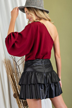 eesome Faux Leather Tiered Mini Skirt - Alternate List Image