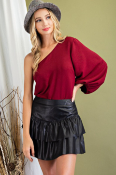 Shoptiques Product: Faux Leather Tiered Skirt