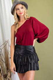 eesome Faux Leather Tiered Skirt - Product Mini Image