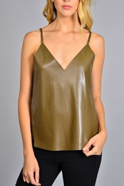 Rosette Faux Leather Top - Product Mini Image