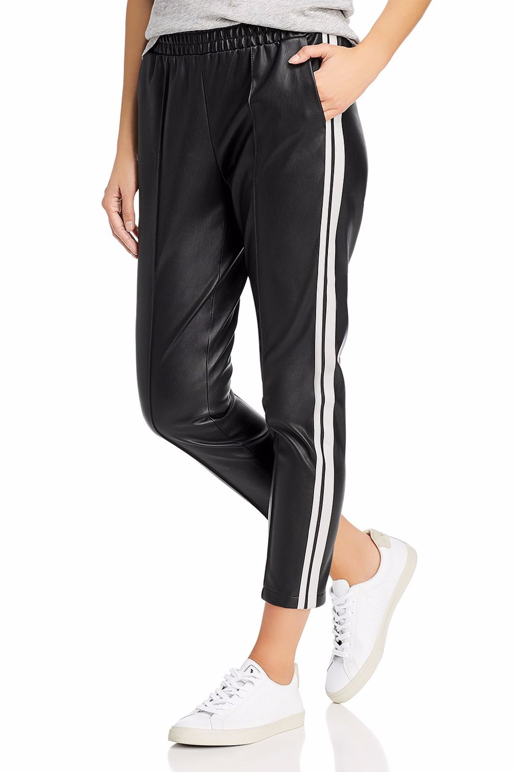 BB Dakota Faux Leather Track Pant - Front Cropped Image