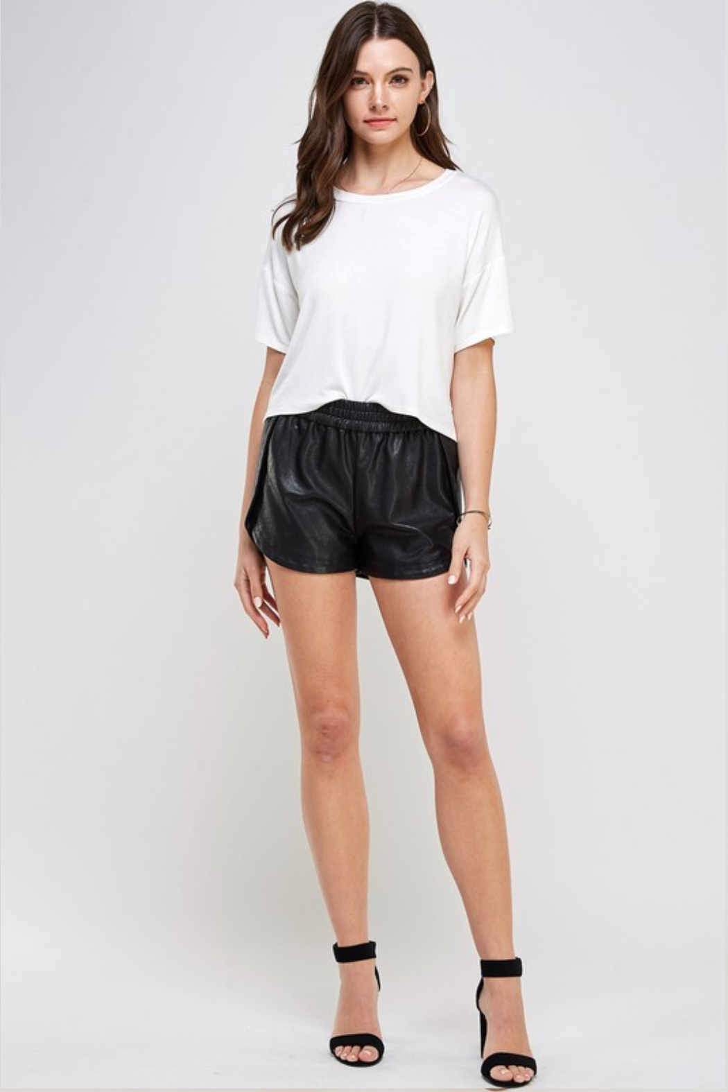 R+D Faux Leather Track Shorts - Back Cropped Image
