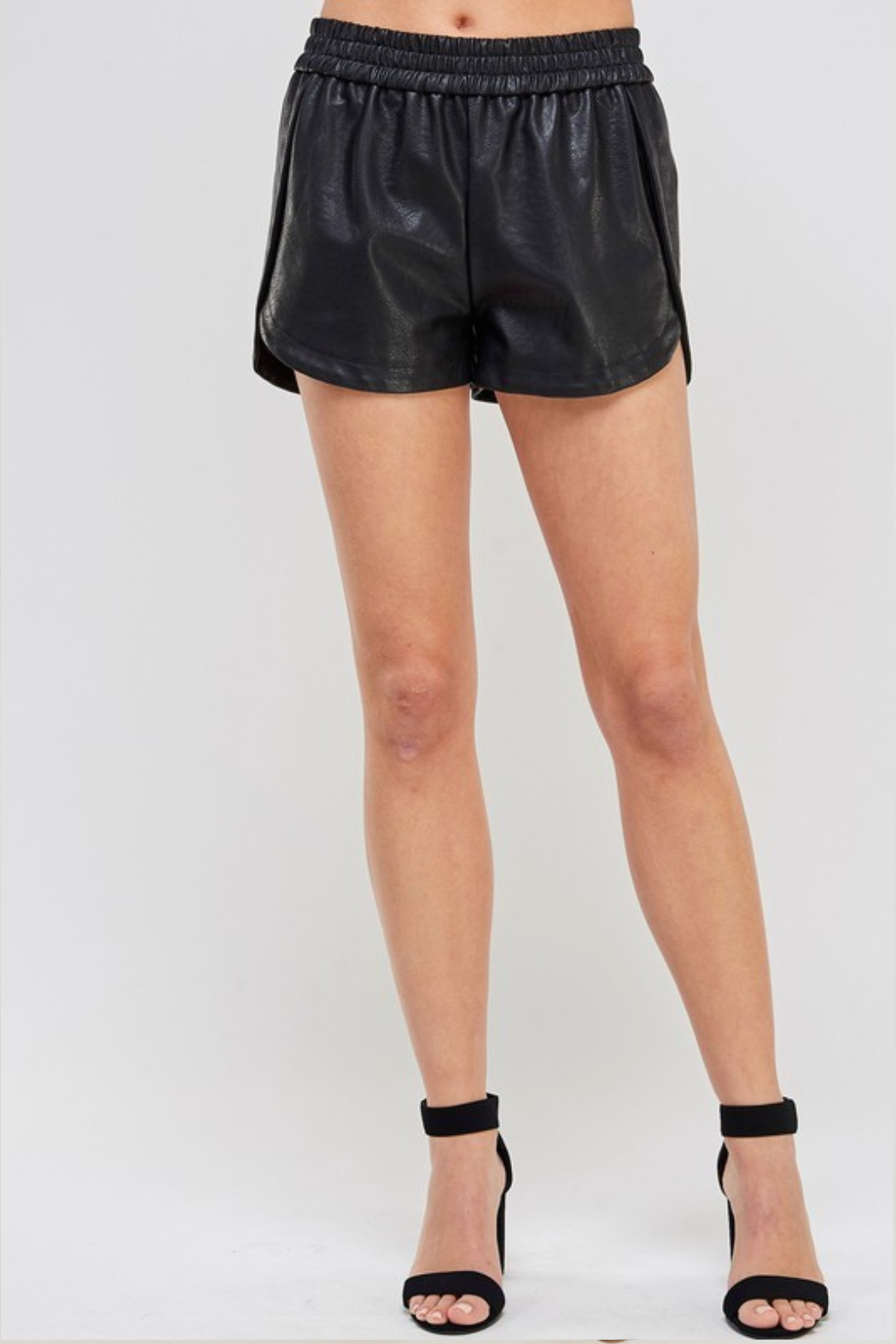 R+D Faux Leather Track Shorts - Front Cropped Image