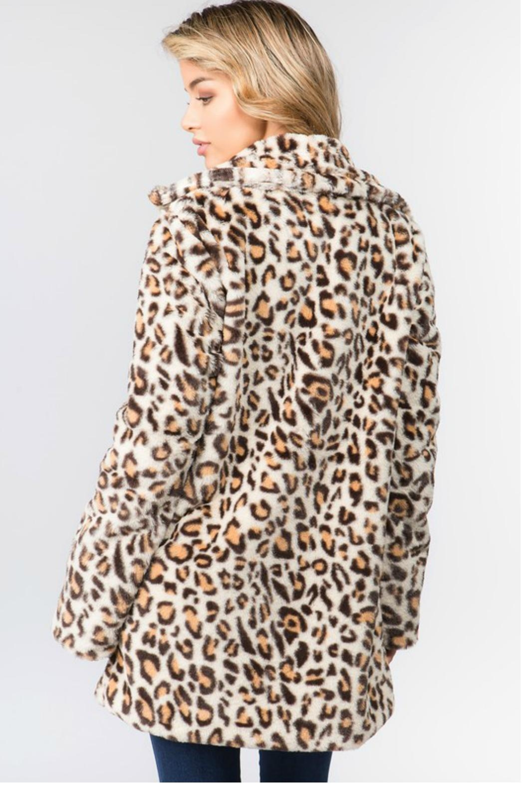 Towne Faux Leopard Coat - Side Cropped Image