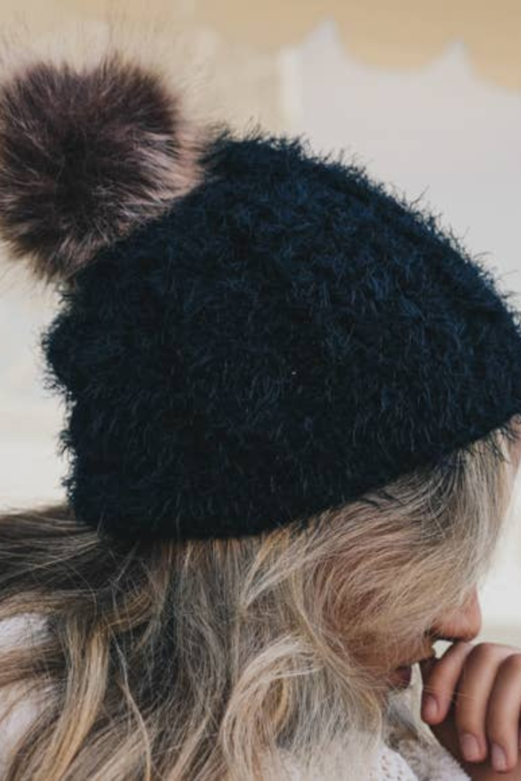 Leto Accessories Faux Mohair Cable Knit Pom Pom Beanie - Main Image