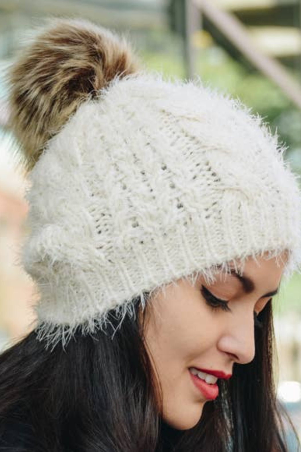 Leto Accessories Faux Mohair Cable Knit Pom Pom Beanie - Front Cropped Image