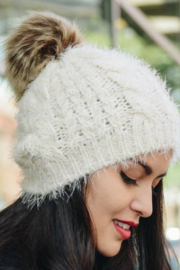 Leto Accessories Faux Mohair Cable Knit Pom Pom Beanie - Front cropped