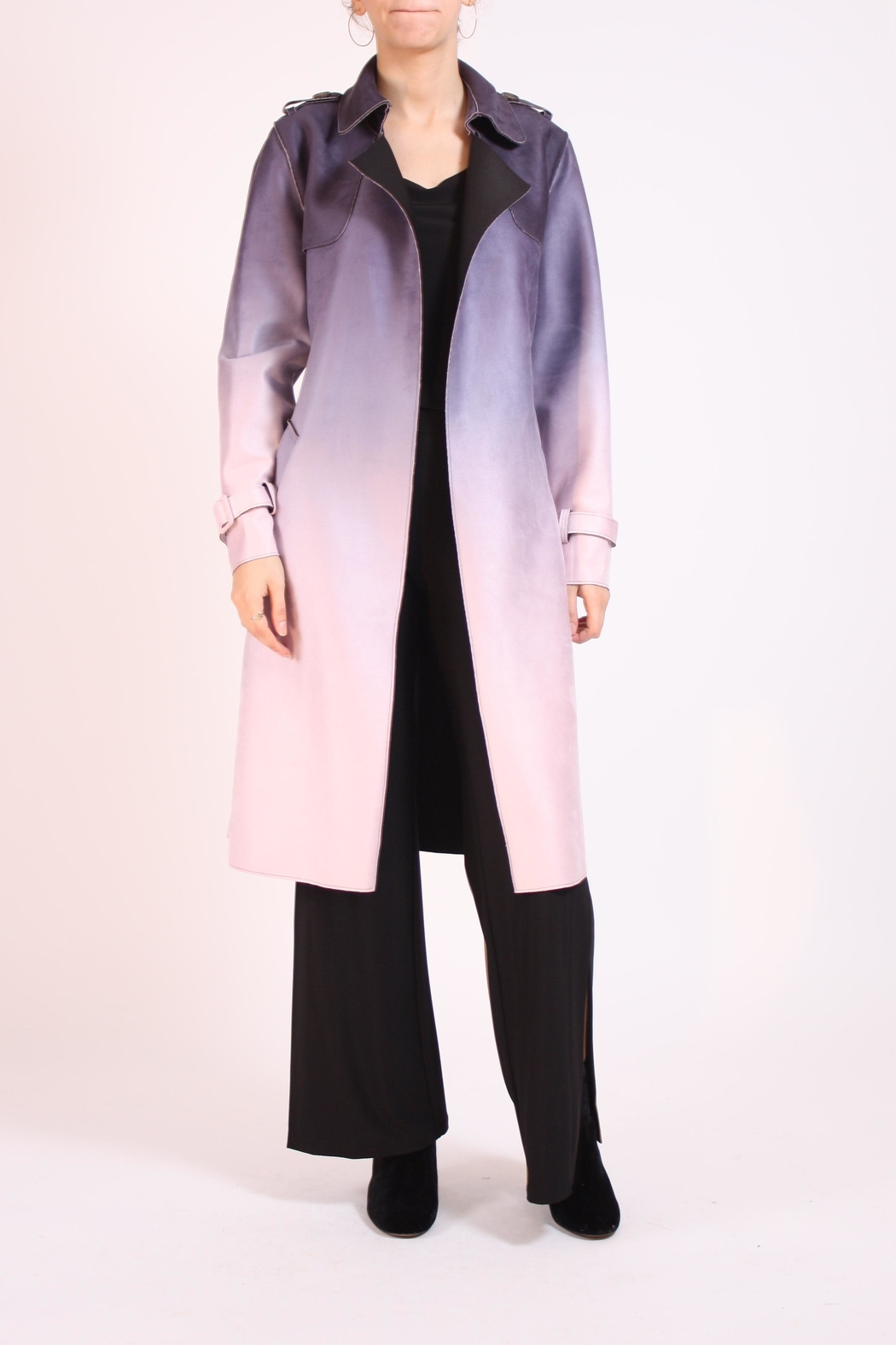Talk of the Walk Faux Ombre Trenchcoat - Front Cropped Image