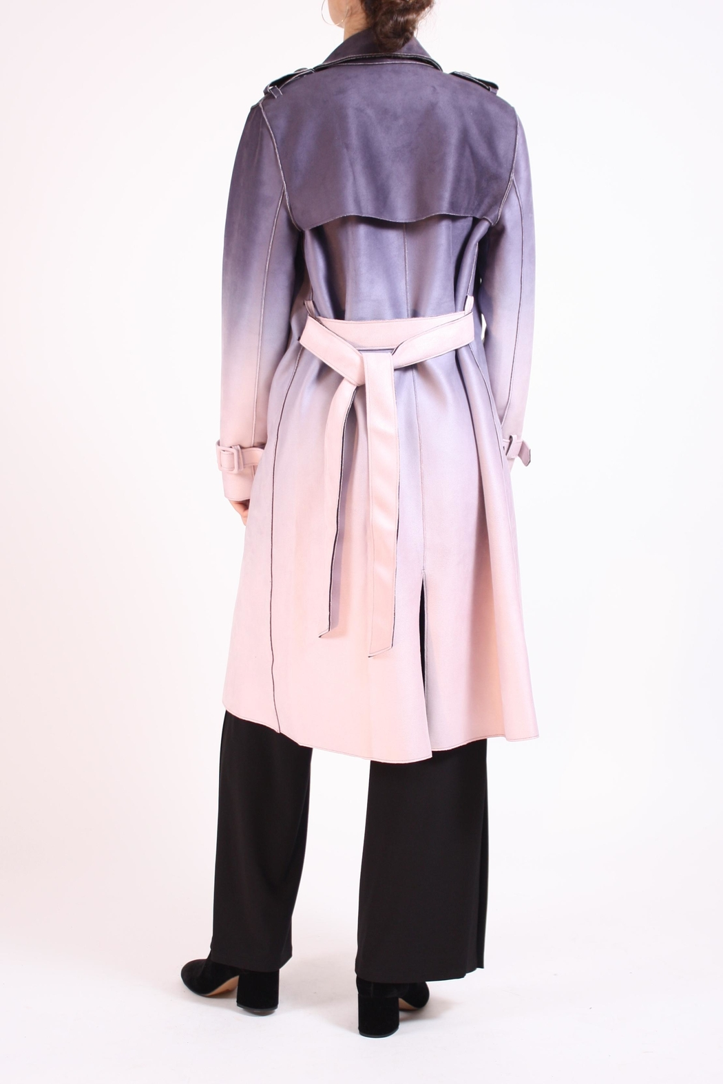 Talk of the Walk Faux Ombre Trenchcoat - Side Cropped Image