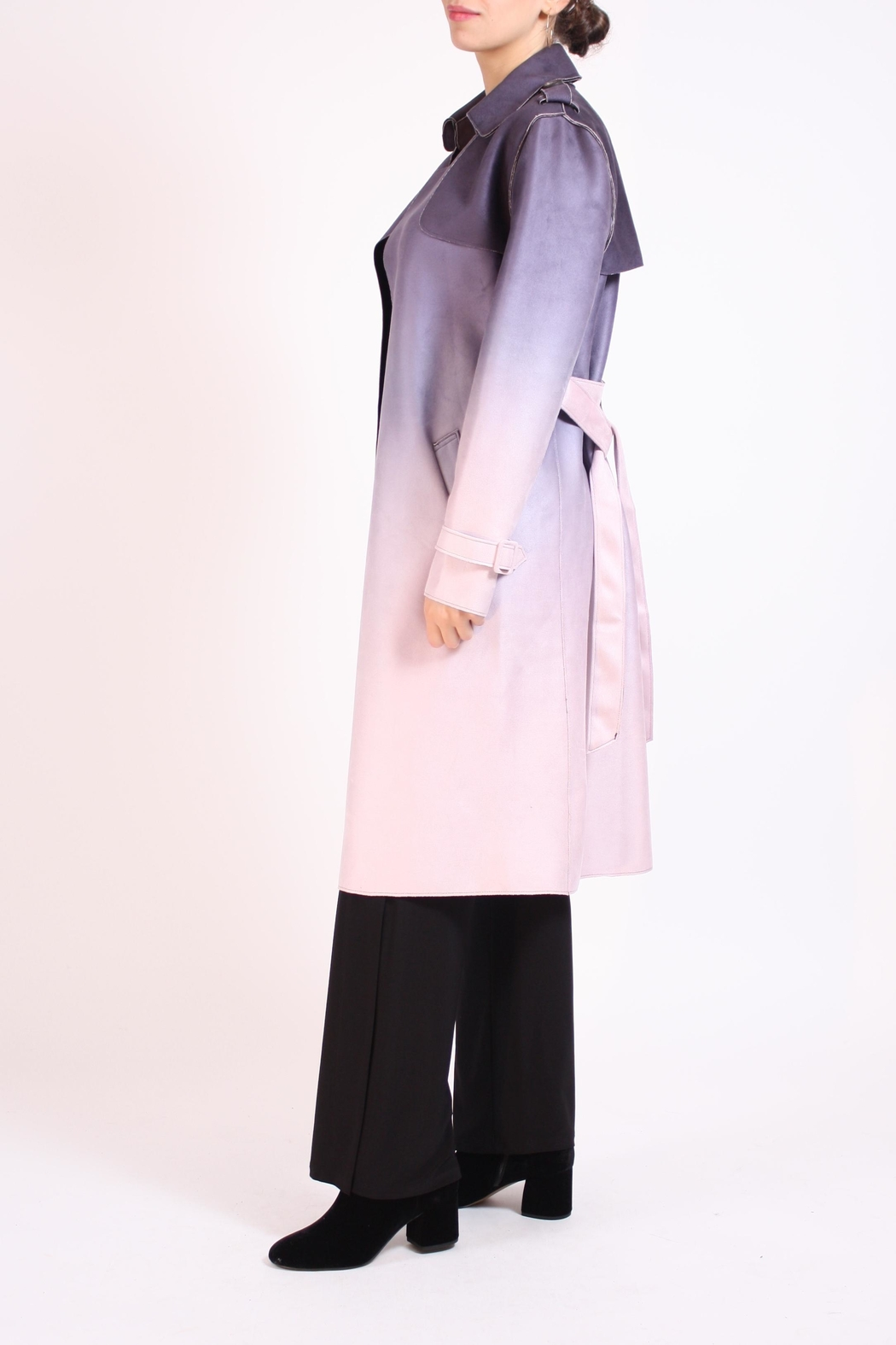 Talk of the Walk Faux Ombre Trenchcoat - Front Full Image