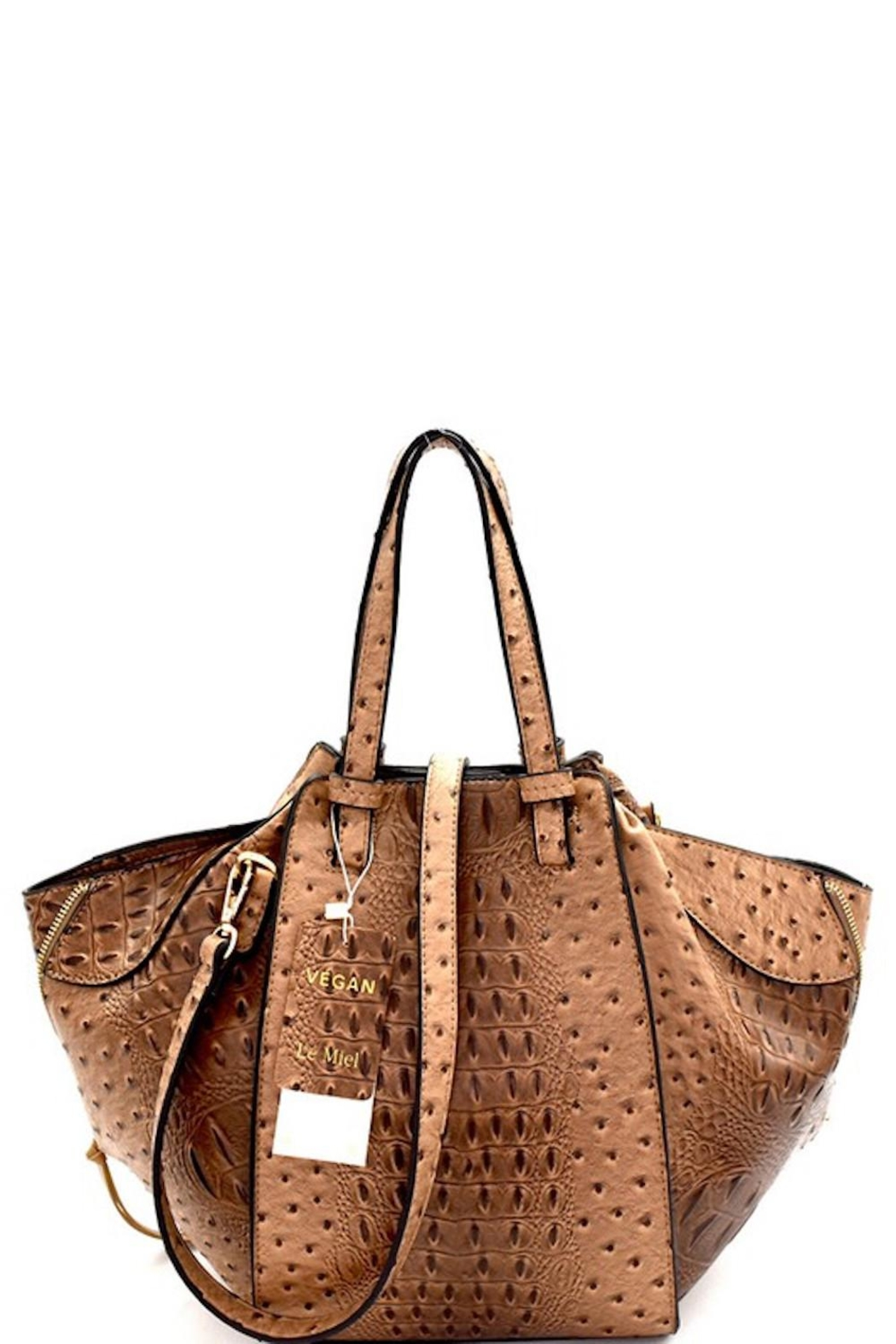 Bag Boutique Faux Ostrich Satchel - Main Image