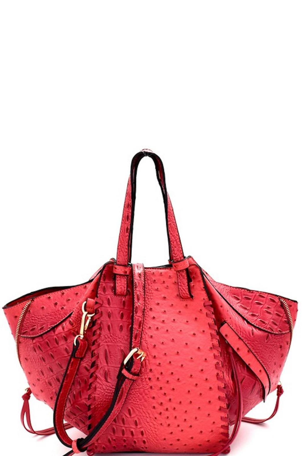 Bag Boutique Faux Ostrich Satchel - Front Cropped Image
