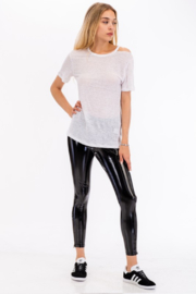 Olivaceous  Faux Patent Legging - Back cropped