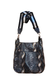 Ahdorned FAUX PYTHON MESSENGER W/ADJUSTABLE STRIPE STRAP - Front cropped