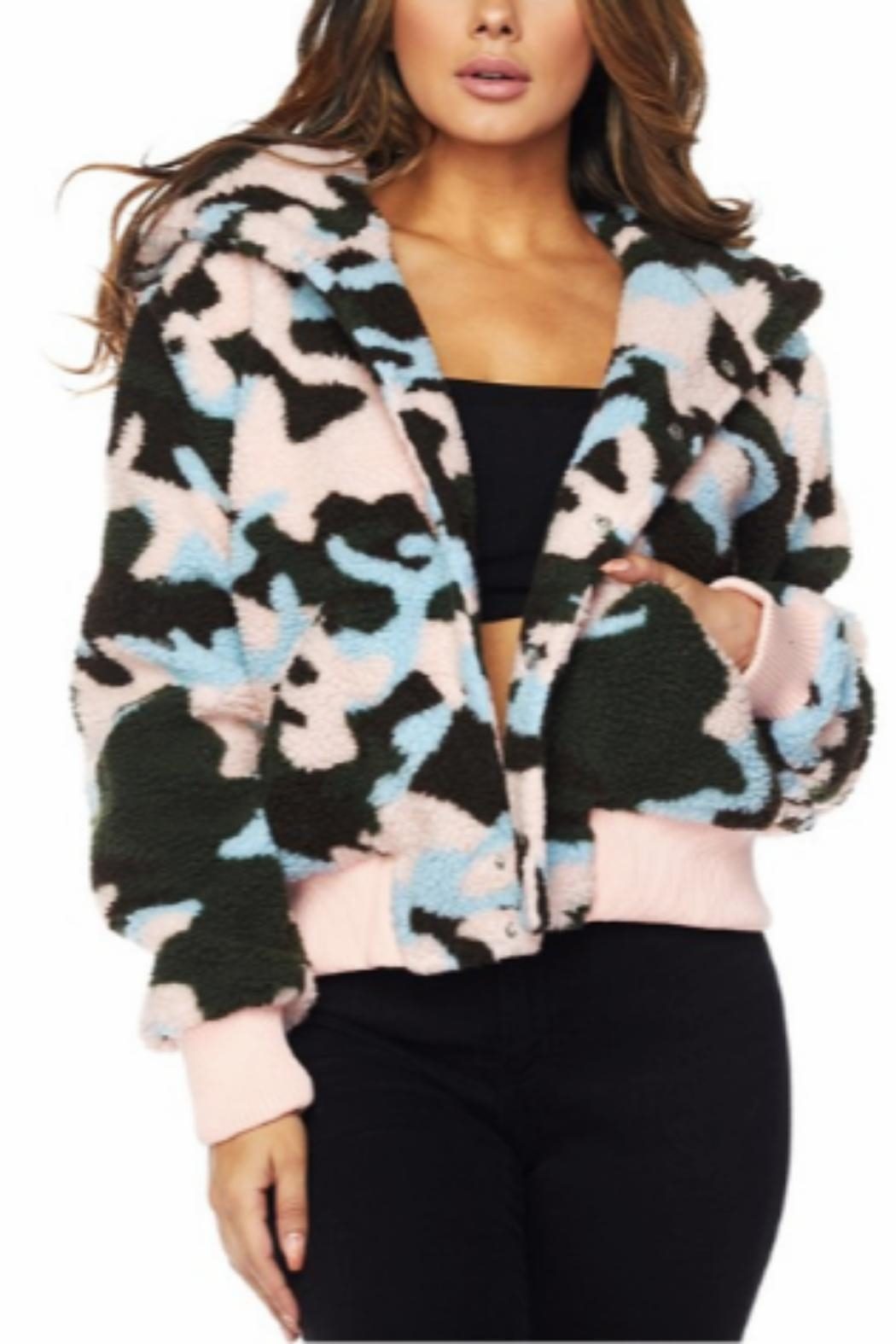 Hot & Delicious Faux-Sherpa Camo Jacket - Front Cropped Image