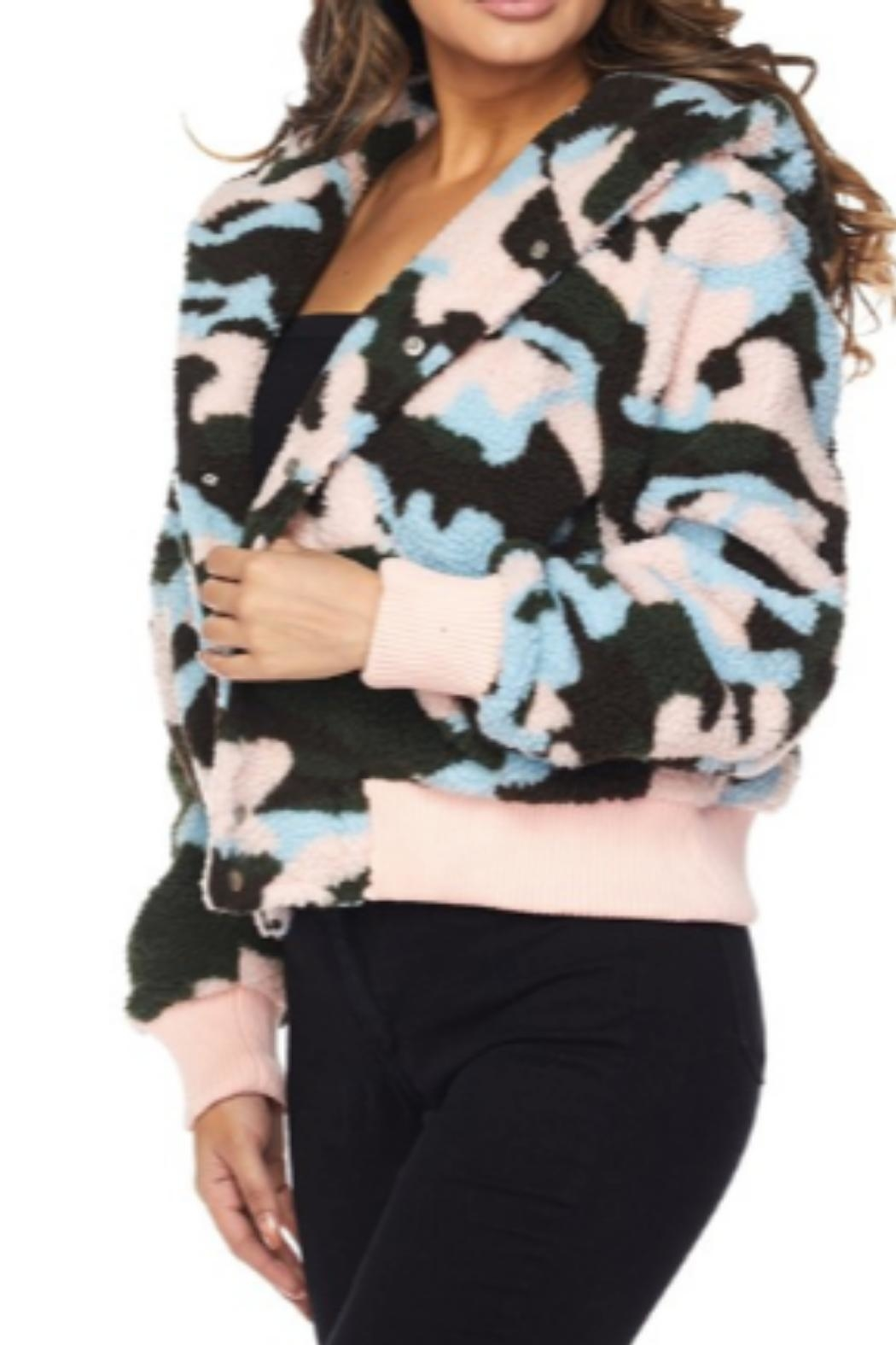 Hot & Delicious Faux-Sherpa Camo Jacket - Front Full Image