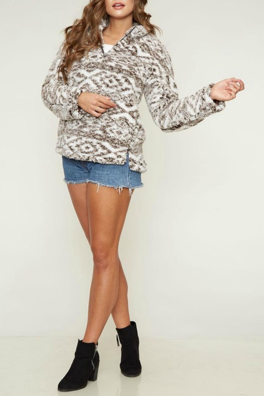 Peach Love California Faux Sherpa Pullover - Front Full Image
