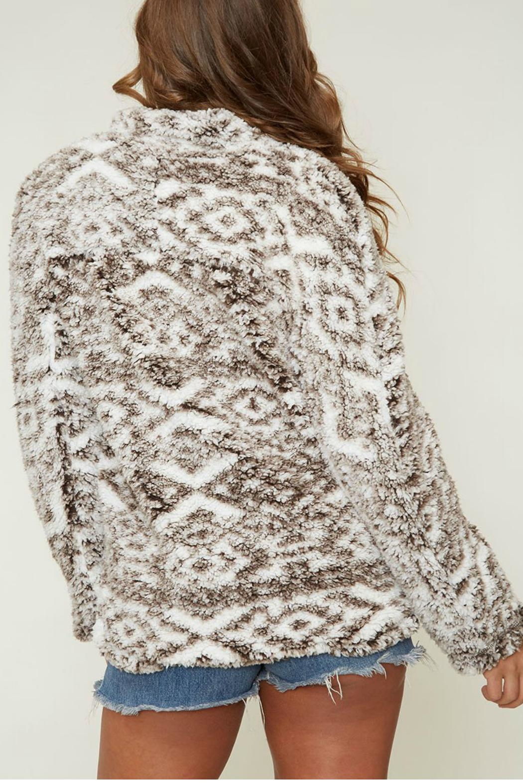 Peach Love California Faux Sherpa Pullover - Side Cropped Image