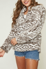 Peach Love California Faux Sherpa Pullover - Front cropped