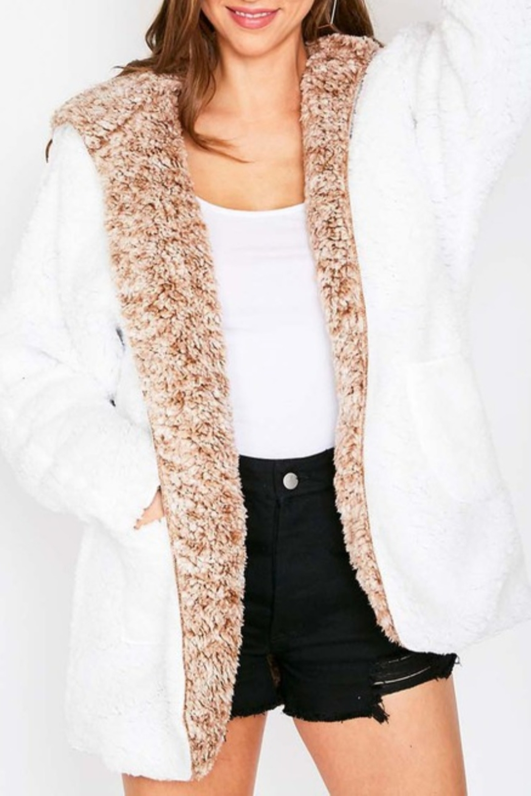 Fantastic Fawn Faux Sherpa Reversible Jacket - Front Full Image