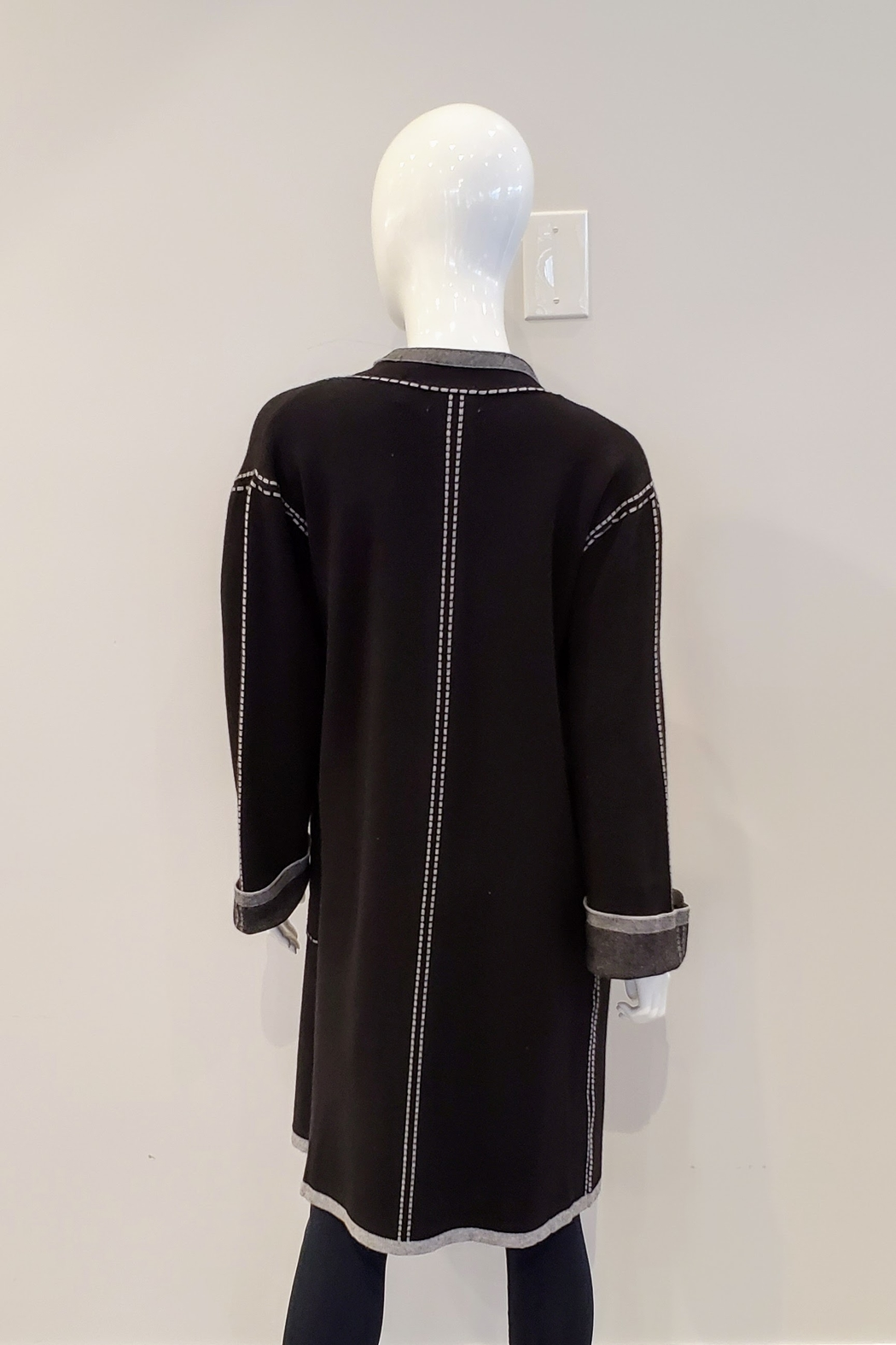 Patrizia Luca Faux Stitched Duster Sweater - Front Full Image