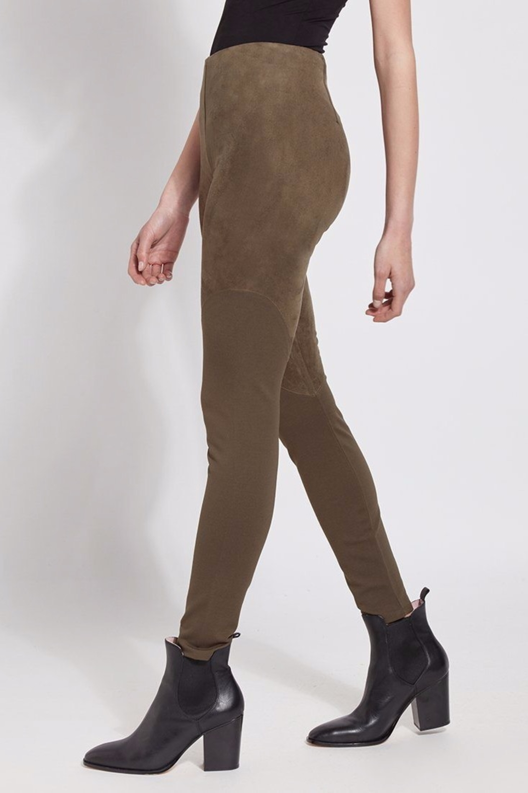Lyssé Faux Suede Angle Seam Leggings - Side Cropped Image