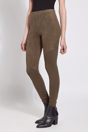 Lyssé Faux Suede Angle Seam Leggings - Front full body