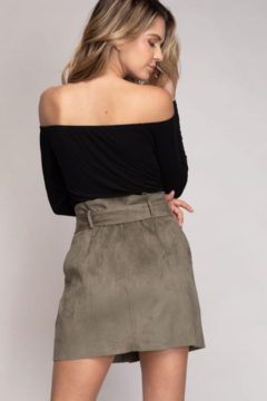 Naked Zebra Faux Suede Button Down Paper Bag Skirt - Alternate List Image